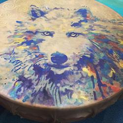 Celtic wolf drum by weaver © 2019...